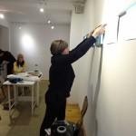 Installing Diana Harrison's work at Tkacka Gallery
